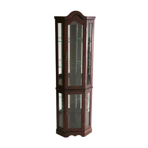 Southern Enterprises Lighted Corner Display Cabinet, Mahogany