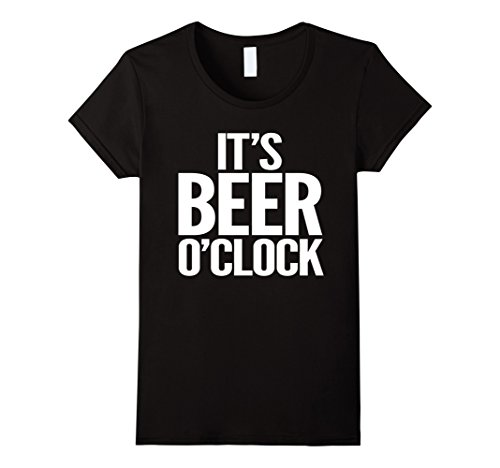 Women's It's Beer O'Clock Funny Drinking T-Shirt Small Black (Beer O Clock compare prices)
