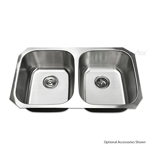 Best Prices! Decor Star P-006 32 1/4 Inch Undermount 50/50 Equal Double Bowl 18 Gauge Stainless Stee...