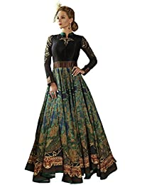 Designer Black Colour Bhagalpuri Party Wear Digital Printed Semi Stitched Gowns