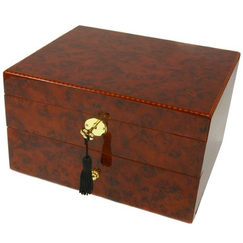 Watch Box Storage Chest For 20 Watches Burlwood Finish by Tech Swiss