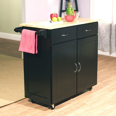 Target Marketing Systems Large Rolling Kitchen Cart with 2 Drawers, 1 Cabinet & Towel Rack, with Wood Top, Black (Wooden Cabinet On Wheels compare prices)