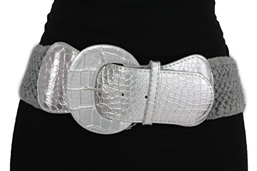 TFJ Women Fashion Belt Elastic Hip High Waist Braided Stretch Plus M L Xl Silver Gray