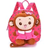 Baby Rae Toddler Kid Walking Safety Leash Backpack with Detachable Cute Monkey Stuff Animal (Pink Monkey) (Color: Pink Monkey)