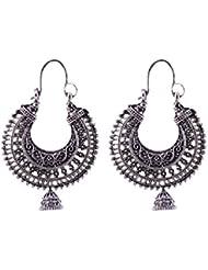 Ganapathy Gems Oxodised Silver Chand Bali With Jhumnka Drop 1958