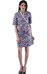 AARR blue printed A-line knee length half sleeves cotton wrap dress