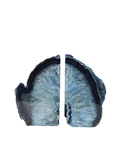 Blue Agate Bookends, Medium