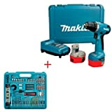 MAKITA 6281DWPE 14.4V Cordless Drill Driver + MAKITABITSET1 101 Piece Drill and Driver Accessory Set