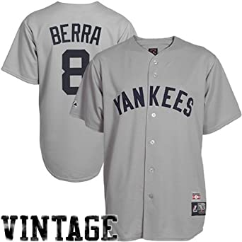 MLB Yogi Berra New York Yankees #8 Cooperstown Collection Throwback Jersey - Gray by Majestic