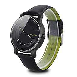 Trasense TS-H03 Smart Watch Phone Mate Traditional Quartz Watch Call Step Calorie Tracker and Goal Completed Reminder Sapphire Glass for Andriod IOS (BLACK)