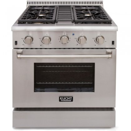 Kucht-KRG3080U-30-Professional-Class-Natural-Gas-Gas-Range-with-42-cu-ft-Convection-Oven-4-Top-Burners-Blue-Porcelain-Interior-and-High-Quality-Control-Knobs-in-Stainless-Steel