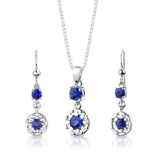 Revoni Sterling Silver Round Shape Sapphire Pendant Earrings and 46 CM Length Silver Necklace Set
