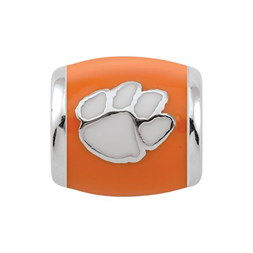 Persona Sterling Silver Clemson University White Paw on Orange Bead Charm