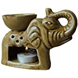 Pure Source India Elephant Shape Aroma Burner Good Quality Coming With 1 Pcs Free Candles . (Light Brown)