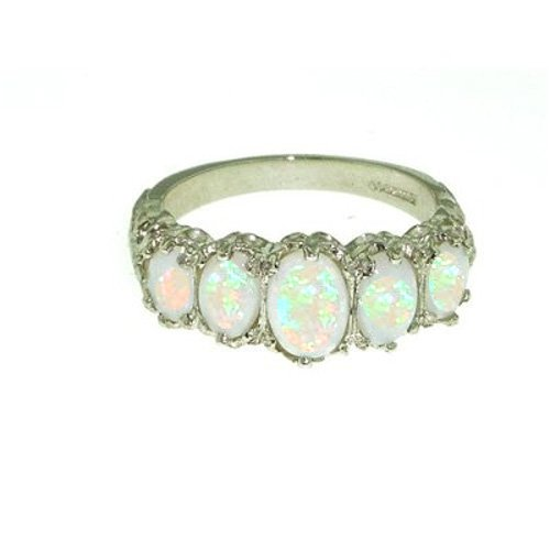 9ct White Gold Ladies 5 Stone Colourful Fiery Opal Ring - Size L - Free Delivery - Finger Sizes L to Z Available