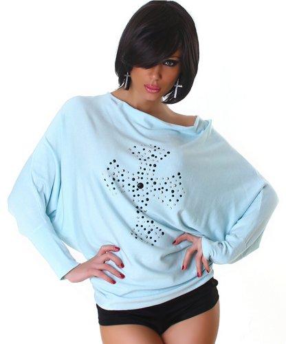 Jela London Damen Fledermaus Langarmshirt Pullover Nieten Kreuz Einheitsgröße 34,36,38,40 verschiedene Farben