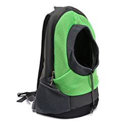 Dog Carrier Cat Puppy Mesh Pet Travel Bag Backpack Double Portable Shoulder Bag - Green - S