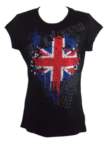 Size Small Punkyfish Ddg 100492 British Union Jack Black Short Sleeve Cotton T-shirt