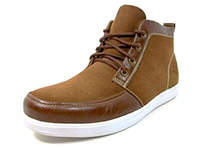 Mens Brown Trendy Casual Sneakers Ankle High Boots Lace Up Style Size 10