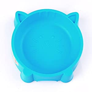 Factop Cat Face Shaped Non-Slip Colorful Plastic Pet Puppy Dog Bowl Random Color (13CM)