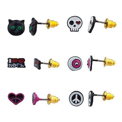 lux-accessori-gatto-nero-kitty-cuore-skull-love-rock-n-roll-occhio-pace-piu-set-di-orecchini-a-perno