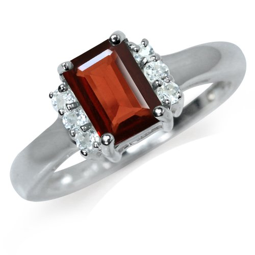1.33ct. Natural Garnet & White Topaz 925 Sterling Silver Engagement Ring Size 6