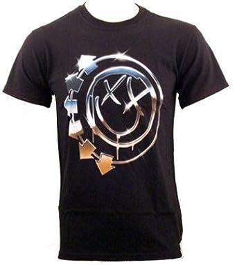 Blink 182 T Shirt Chrome Smiley (in XL): Vêtements et