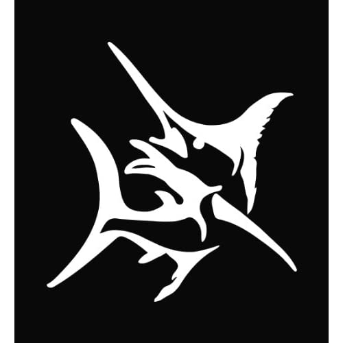 Marlin Die Cut Vinyl Decal Sticker   5.75 White