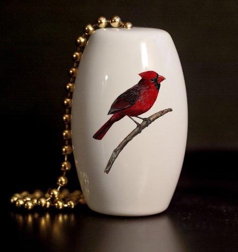 Red Cardinal Porcelain Fan / Light Pull