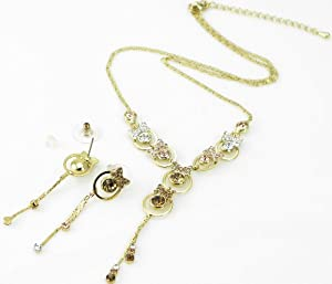 Butterfly Crystal Necklace and Earring Set (Yellow) 3008202