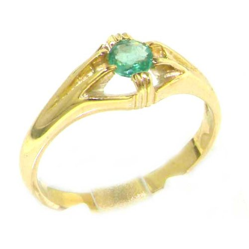 Luxury 9K Yellow Gold Womens Solitaire Vibrant Emerald Ring - Size 9.75 - Finger Sizes 5 to 12 Available