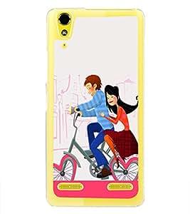 Love Couple on Cycle 2D Hard Polycarbonate Designer Back Case Cover for Lenovo A6000 :: Lenovo A6000 Plus :: Lenovo A6000+