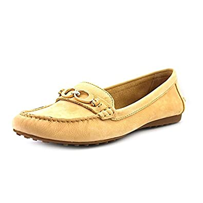 Coach Women's Fortunata Nubuck Leather Driver Loafers, Style A1167 (8 M US Women, Light Tan)