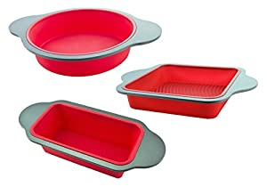 3-Piece Non-Stick Silicone Cake Mold Baking Pan Set by Boxiki Kitchen | Professional Kitchen Set Includes Round Cake Mold Pan, Square Cake Mold Pan, Bread Loaf Mold Pan | FDA Silicone w/ Steel Frame