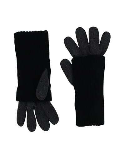 Plush Women's Two-Tone Covered Gloves, Grey/Black