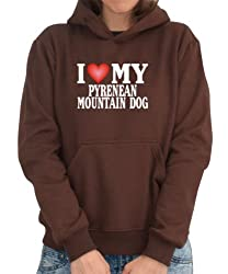 I LOVE Pyrenean Mountain Dog Womens Hoodie