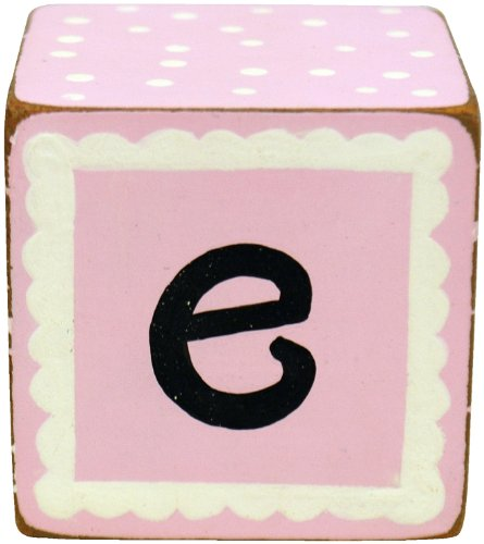 New Arrivals Letter Block E, Pink/White