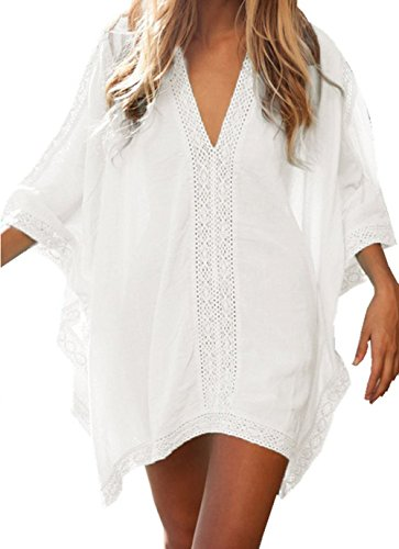 Qin.Orianna Womens Crochet Solid Oversized Beach Swimsuit Cover up Dresses (White)