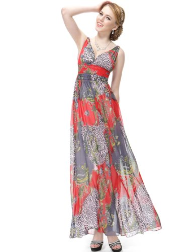 HE08094RD14, Multicolor(red), 12US, Ever Pretty Deep Double V-neck Printed Chiffon Women Maxi Dress 08094