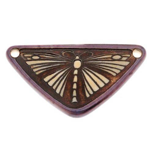 Clay River Designs Porcelain Pendant, 21X41Mm Glazed Triangle W/Butterfly, 1 Piece, Plum