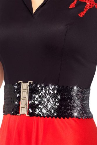 Smiffy's Women's Waist Belt with Sequins, Black, One Size - 1