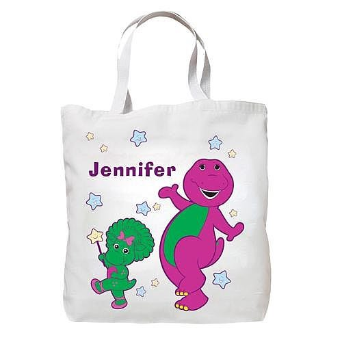 Personalized Barney & Baby Bop White Star Tote Bag front-133722