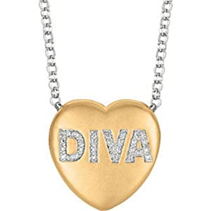 IceCarats Designer Jewelry Yellow Gold Plated Sterling Silver .01 Ctw Diamond Diva Heart Necklace