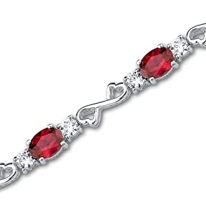 Designed just for you Oval Cut Created Ruby & White CZ Gemstone Bracelet in Sterling Silver Rhodium Nickel Finish from Peora