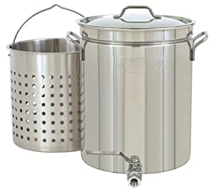 Bayou Classic 1140 Stainless 10-Gallon Steam Boil Stockpot with Spigot Basket and Vented... by Bayou Classic