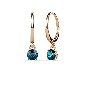 Blue Diamond Four Prong Solitaire Dangling Earrings 0.50 ct tw in 14K Rose Gold