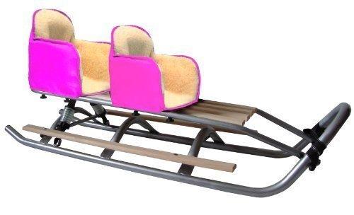SD-21 DUO Set Doppelschlitten mit Federung PINK Geschwisterschlitten Schlitten 2 x Fußablagen 2 x Sitz * 2 x Rückenlehne * Band kaufen