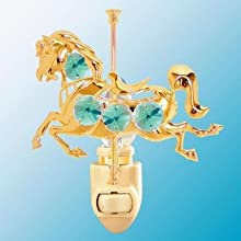 24k Gold Carousel Horse Night Light - Green Swarovski Crystal