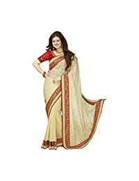 Cream And Red Georgette Party Wear Saree