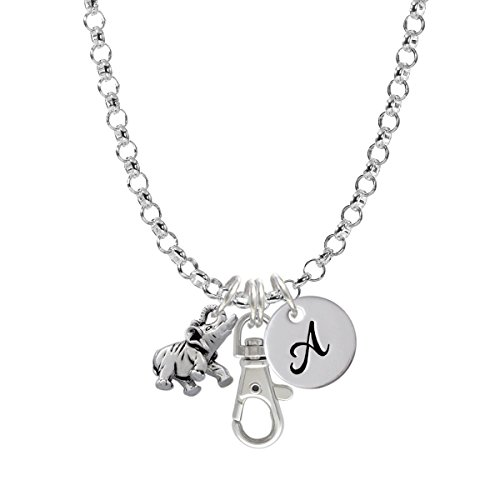Elephant Initial Badge Clip Necklace